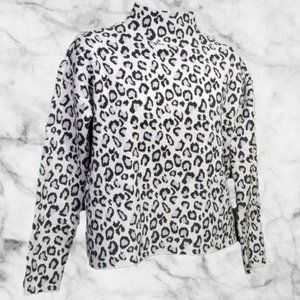 CYNTHIA ROWLEY Cheetah Mock Neck Pullover Sweater